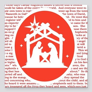 "Christmas story Nativity Square Car Magnet 3"" x 3"""