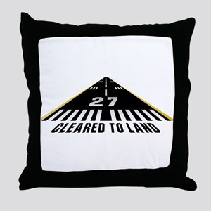 Aviation Cleared To Land Runway 27 Throw Pillow