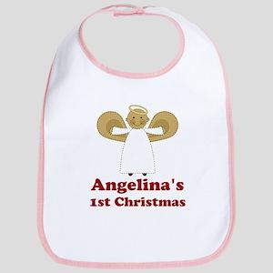 1st Christmas Angel Personalized Bib