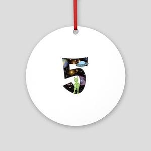 Space Alien 5th Birthday Round Ornament