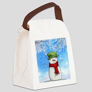 Happy Snowman Canvas Lunch Bag