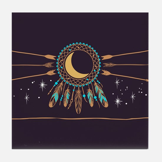 Dreamcatcher Moon Tile Coaster