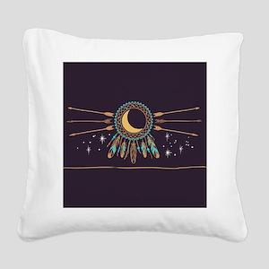 Dreamcatcher Moon Square Canvas Pillow