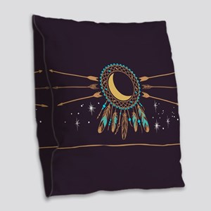 Dreamcatcher Moon Burlap Throw Pillow