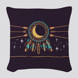 Dreamcatcher Moon Woven Throw Pillow