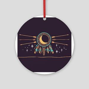Dreamcatcher Moon Round Ornament