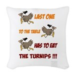 Last One To The Table Has Eat Woven Throw Pillow