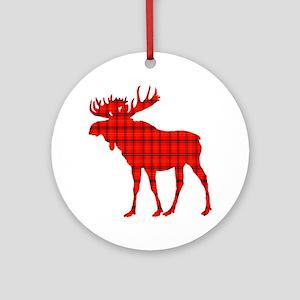 Moose: Rustic Red Plaid Round Ornament