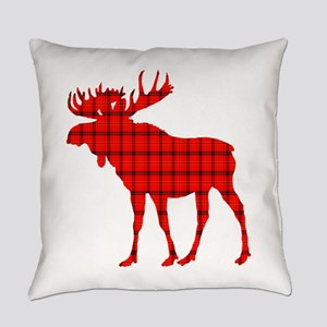 Moose: Rustic Red Plaid Everyday Pillow
