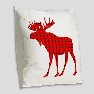 Moose: Rustic Red Plaid Burlap Throw Pillow