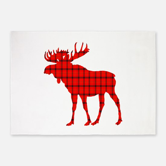 Moose: Rustic Red Plaid 5'x7'Area Rug