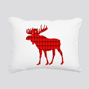 Moose: Rustic Red Plaid Rectangular Canvas Pillow