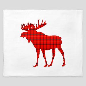 Moose: Rustic Red Plaid King Duvet