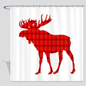 Moose: Rustic Red Plaid Shower Curtain