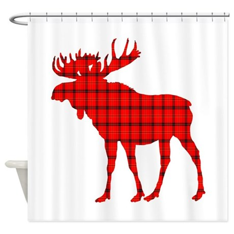 Moose Rustic Red Plaid Shower Curtain By Holidays 1