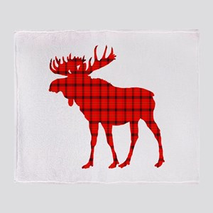 Moose: Rustic Red Plaid Throw Blanket