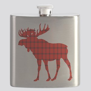 Moose: Rustic Red Plaid Flask