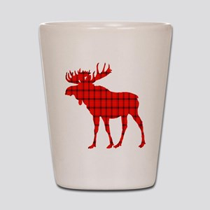 Moose: Rustic Red Plaid Shot Glass
