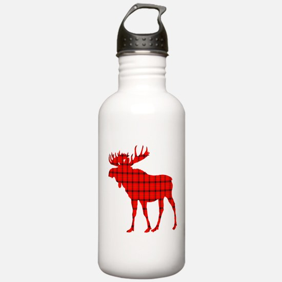 Moose: Rustic Red Plaid Water Bottle