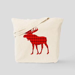 Moose: Rustic Red Plaid Tote Bag
