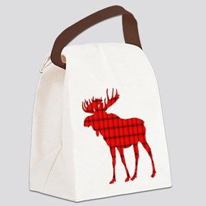 Moose: Rustic Red Plaid Canvas Lunch Bag