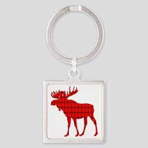 Moose: Rustic Red Plaid Keychains