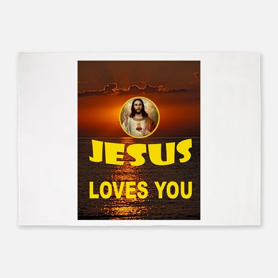 JESUS LOVES YOU 5'x7'Area Rug