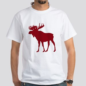 Moose: Rustic Red White T-Shirt