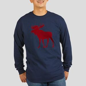 Moose: Rustic Red Long Sleeve Dark T-Shirt