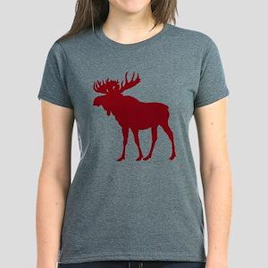 Moose: Rustic Red Women's Dark T-Shirt