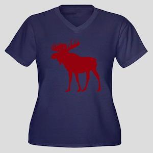 Moose: Rusti Women's Plus Size V-Neck Dark T-Shirt