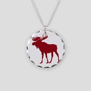 Moose: Rustic Red Necklace Circle Charm