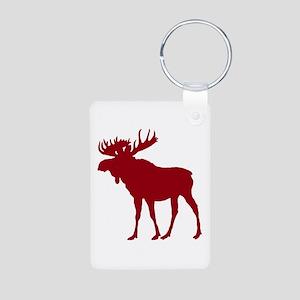 Moose: Rustic Red Aluminum Photo Keychain