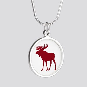 Moose: Rustic Red Silver Round Necklace