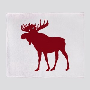 Moose: Rustic Red Throw Blanket