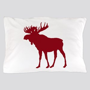Moose: Rustic Red Pillow Case