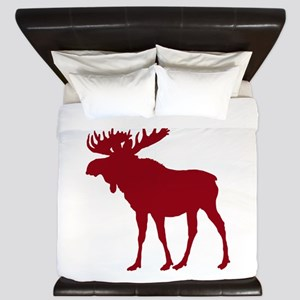 Moose: Rustic Red King Duvet