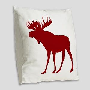 Moose: Rustic Red Burlap Throw Pillow