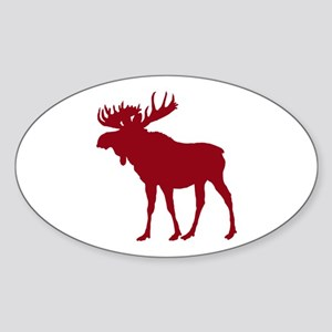 Moose: Rustic Red Sticker (Oval)