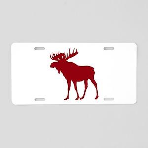 Moose: Rustic Red Aluminum License Plate