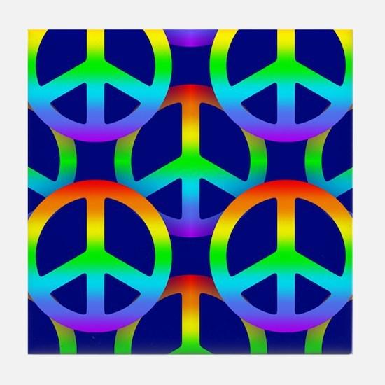 Rainbow Peace Sign Pattern Tile Coaster