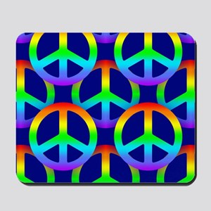 Rainbow Peace Sign Pattern Mousepad