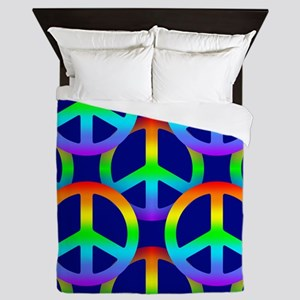 Rainbow Peace Sign Pattern Queen Duvet