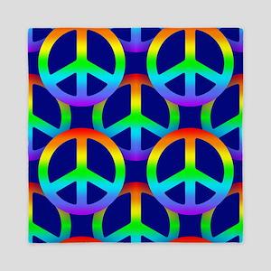 Rainbow Peace Sign Pattern Queen Duvet