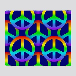 Rainbow Peace Sign Pattern Throw Blanket