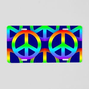 Rainbow Peace Sign Pattern Aluminum License Plate