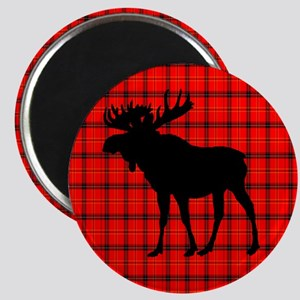 Moose: Rustic Red Plaid Magnets