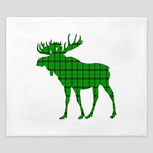 Moose: Pine Green Plaid King Duvet
