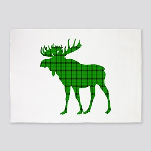 Moose: Pine Green Plaid 5'x7'Area Rug