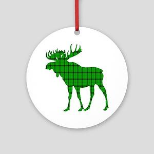 Moose: Pine Green Plaid Round Ornament